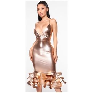 BN Rose Gold Metallic  Midi Dress